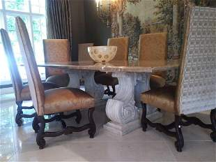 Fremarc Designs Marble Top with Carved Resin Pedestal