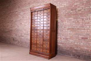 Antique Oak 45-Drawer Cabinet With Roll Down Tambour