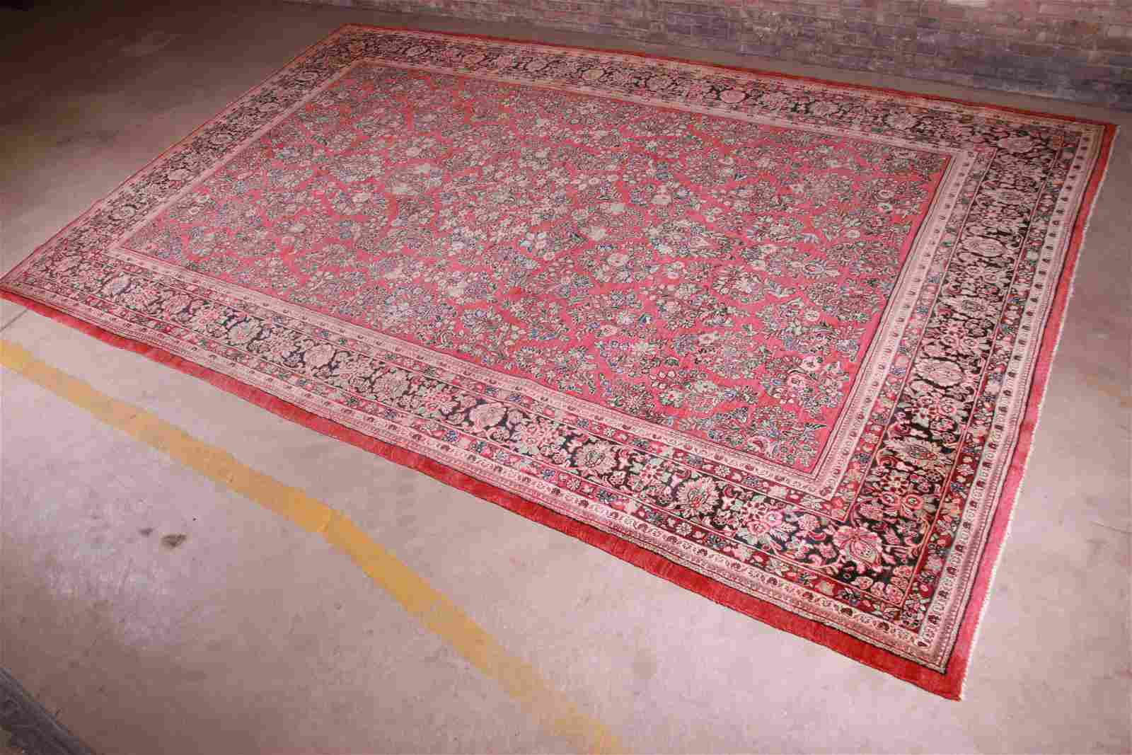 Semi-Antique Hand-Knotted Persian Sarouk Room Size Rug