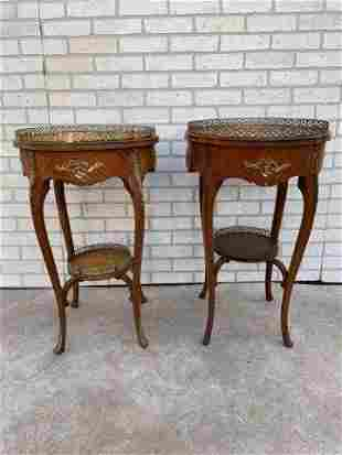 French Louis XV Style Two Tier Ormolu Mounted Marquetry