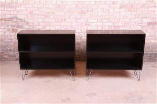 Paul McCobb Planner Group Black Lacquered Bookcases on