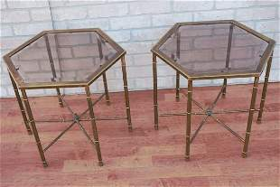 Mid Century Mastercraft Brass Faux Bamboo Side Tables -