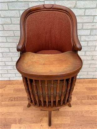 Antique Victorian Spindle Child High Feeding Chair with