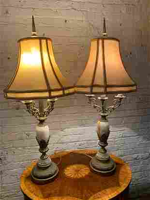 Antique Victorian Candlabras Style Table Lamps with