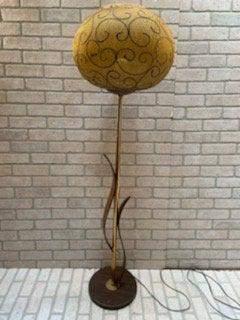 Mid Century Modern Floor Lamp with Wicker Shade