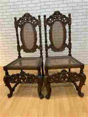 Antique Victorian Ornate Carved Side Chairs - Pair