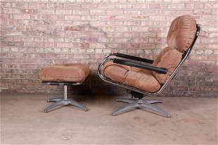 Milo Baughman for Directional Chrome and Suede Swivel