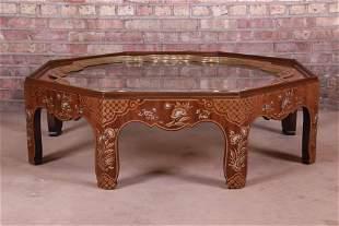 Baker Furniture Hollywood Regency Chinoiserie Walnut