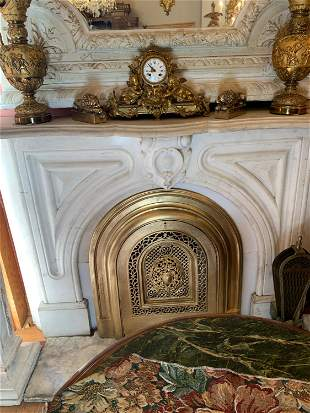 White Carrara Marble Fireplace Mantle With Arch Top
