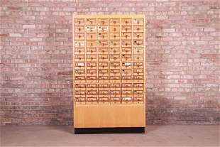 Mid-Century Maple 72-Drawer Library Card Catalog
