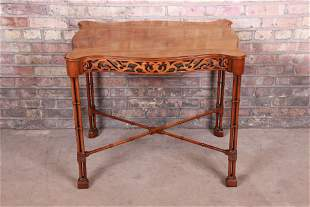 Chinese Chippendale Carved Mahogany Faux Bamboo Tea