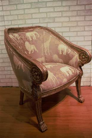 Vintage Baroque Safari Print Barrel Back Accent Lounge
