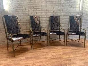 Mastercraft Faux Bamboo Brass Imperial Dining Chairs