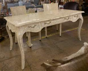 Maitland and Smith Tessellated Marble Desk and Two