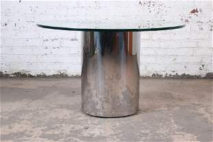 Brueton Mid-Century Modern Polished Steel and Glass