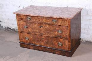 19th Century Burled Walnut Marble Top Commode or Chest