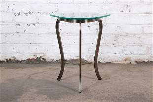 Contemporary Brushed Metal Glass Top Side Table