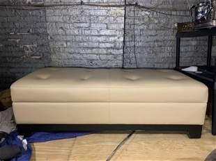 Walter E Smithe Vandyke Leather Storage Ottoman Bench