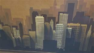 Abstract Skyline Painting on Canvas By Franco in a Gold