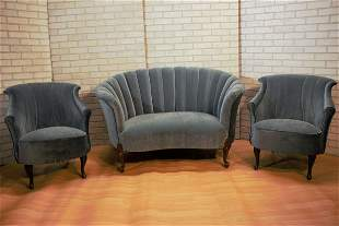 Art Deco Gio Ponte Style Channel Back Settee and Lounge