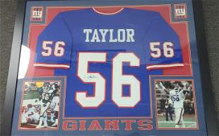 Authentic Signed Lawrence Taylor NY Giants Jersey Frame
