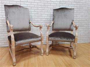 Antique French Carved Lions Head Armchairs Newly