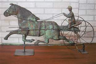 Antique Copper and Brass Sulky Jockey Horse Carriage