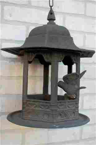 Antique Ornate Chinese Garden Lantern Bird Feeder
