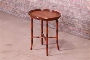 Maitland Smith Regency Mahogany Faux Bamboo Tea Table