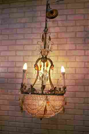 Antique French Victorian Chandelier With a Crystal
