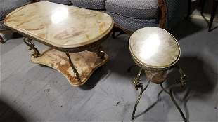 Antique Victorian Ornate Onyx and Brass Coffee Table