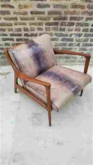 Mid Century Modern Danish Walnut Framed Lounge Chair