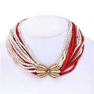 Authentic Buccellati 18K Yellow Gold 16 string Coral