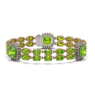 18.93 ctw Peridot & Diamond Bracelet 14K Rose Gold