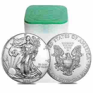 Roll of 20 - 2020 1 oz Silver American Eagle $1 Coin BU