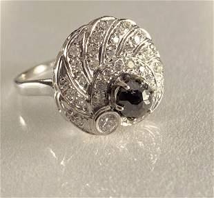 Black and White Diamond 14kt White Gold Cocktail Ring