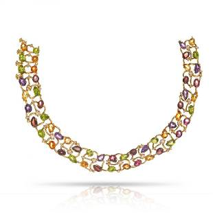 Authentic Chanel 18K Yellow Gold Multicolor Gemstone