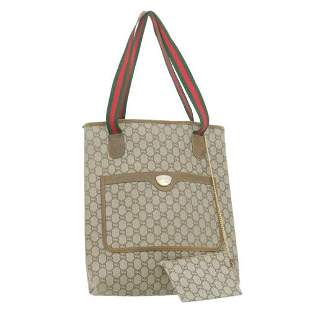 Authentic GUCCI Web Sherry Line GG Canvas Tote Bag
