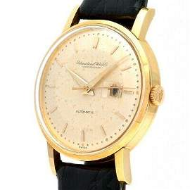 Authentic IWC Round Automatic Yellow Gold Leather Mens