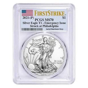 2021 (P) 1 oz Silver American Eagle PCGS MS 70 FS