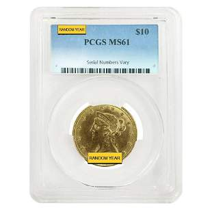 $10 Liberty Head Gold Eagle PCGS MS 61 (Random Year)