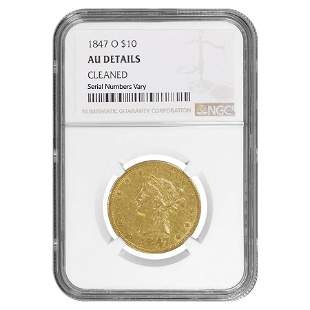1847 O $10 Liberty Head Gold Eagle Coin NGC AU Details