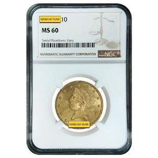 $10 Liberty Head Gold Eagle NGC MS 60 (Random Year)