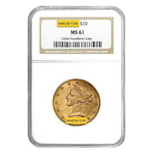 $10 Liberty Head Gold Eagle NGC MS 61 (Random Year)