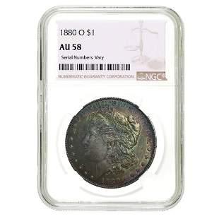 1880 O Morgan Silver Dollar $1 NGC AU 58