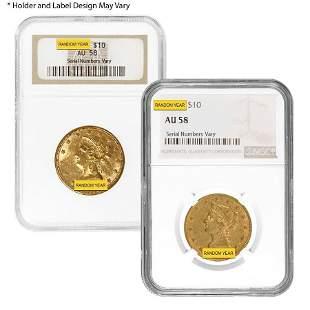 $10 Liberty Head Gold Eagle NGC AU 58 (Random Year)
