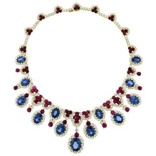 Authentic Bulgari Diamond Sapphire Ruby 18 Karat White