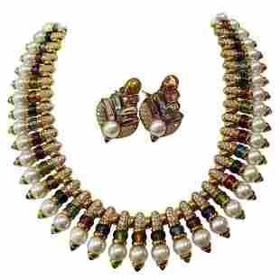 Authentic Bulgari Diamond Cultured Pearls Multi-Gem 18