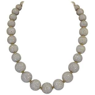 Authentic Judith Ripka Pave Diamond Gold Ball Necklace