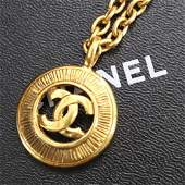 Authentic CHANEL Logos Circle Chain Necklace Gold-Tone
